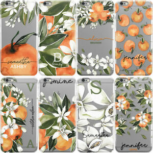 PERSONALISED-INITIALS-PHONE-CASE-ORANGES-FLORAL-HARD-COVER-FOR-ONEPLUS-3-5-X