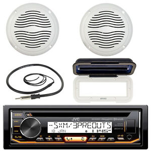 "Antenna 5/"" Speakers Cover JVC Bluetooth USB Marine CD Radio 400W Amplifier"