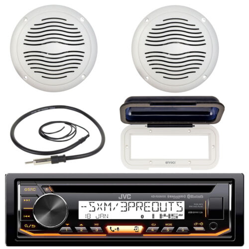 "Marine Antenna JVC KDR99MBS Bluetooth CD USB Boat Radio,5/"" Speakers,Radio Cover"