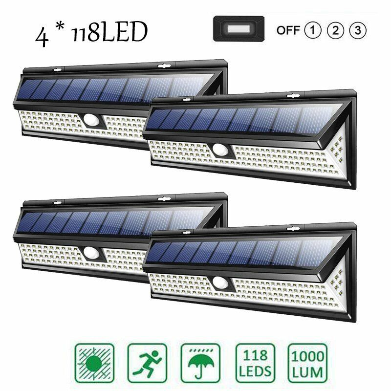 2X 118LED  Solar Powered Motion Sensor Wall Security Lamp Garden Outdoor 1000LM