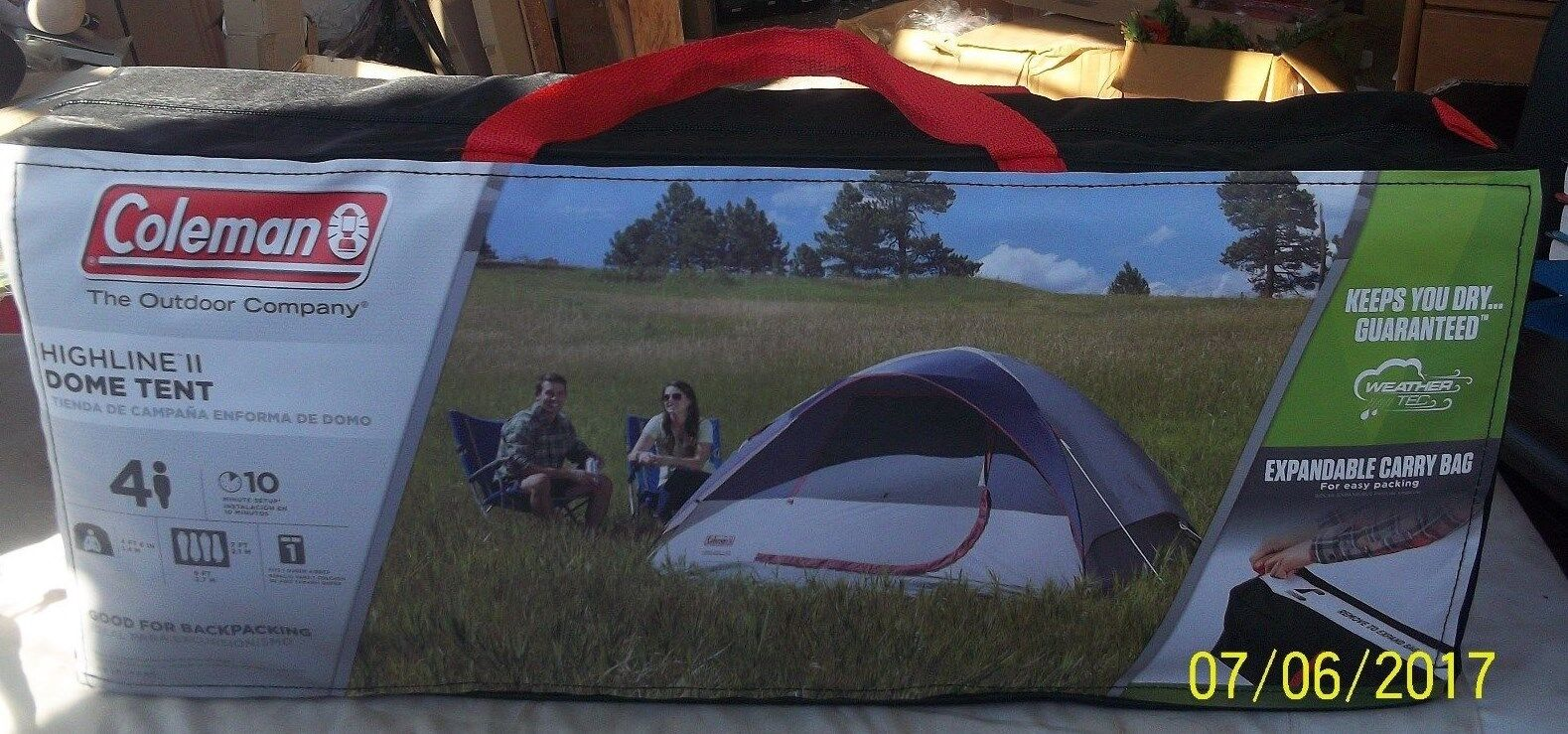 COLEMAN HIGHLINE II Dome Dome Dome Tent Up to 4 people NIB NEW IN CARRYING CASE 85b4ec