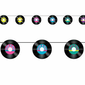 ROCK-amp-ROLL-RECORD-BANNER-GARLAND-HANGING-PARTY-DECORATION-RECORDS-50-039-S-60-039-S
