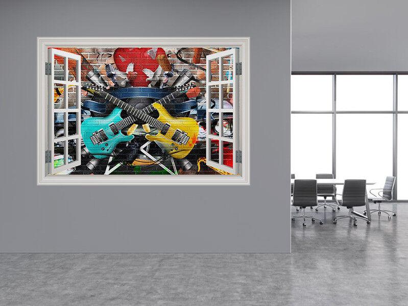 Collage von Musik Foto Fenster Wandaufkleber Wandbild (38916455ww) Gitarre