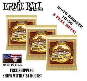 ** 3 Jeux! Ernie Ball Earthwood 80/20 Bronze Acoustic Guitare Strings 2006 **-afficher Le Titre D'origine