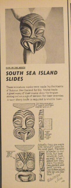 1963 South Sea Island Slides New Zealand Mask~Maoris of Rotorua Whittlin Jim Art