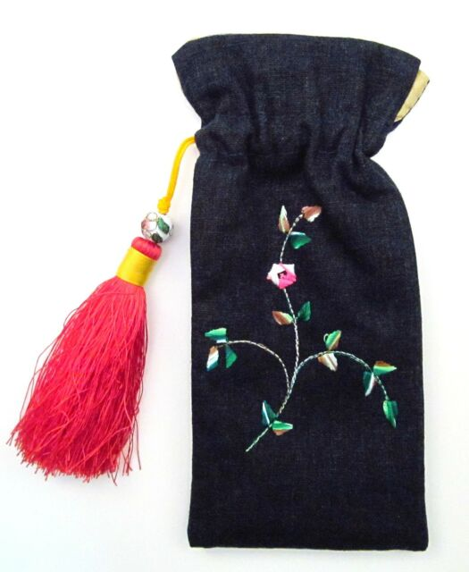 EMBROIDERED EYEGLASS CASE ~ NAVY EYE GLASS POUCH RED TASSEL ~ NEW