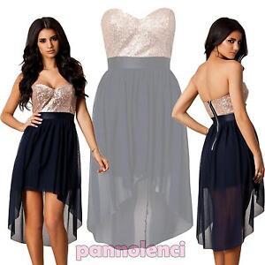 f873c939ee2d Vestito donna coda chiffon velato paillettes mini abito cerimonia ...