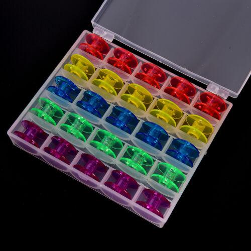 25Pcs//Set Empty Bobbins Sewing Machine Spools Colorful Plastic CaseStorageBox ..