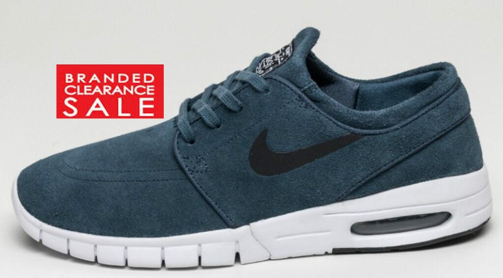 BNWT Nuovo Uomini Nike Air Stefan Janoski Max SB SQUADRONE in pelle scamosciata blu taglia 7 8 UK