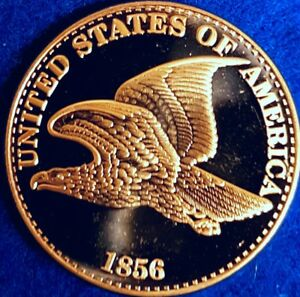 1856 Flying Eagle 1OZ. 999 Copper Bouillon  Round  ID #A2