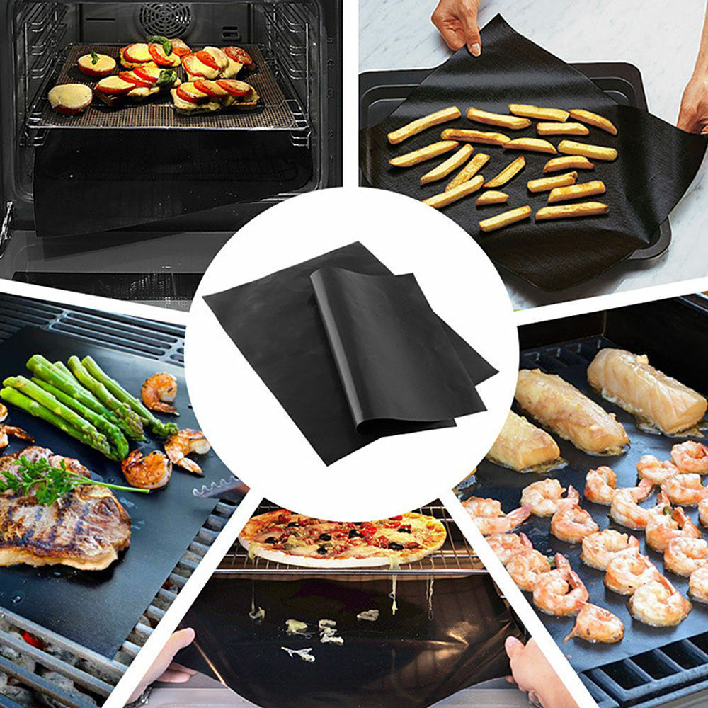 30Pcs Reusable Non-stick Black BBQ Grill Mat Barbecue