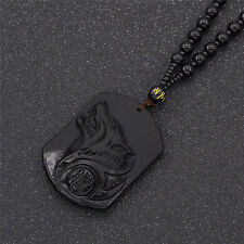Carved Wolf Head Pendant Necklace Black Men Women Casual Beads Jewelry Gifts
