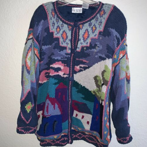 Vintage Womens 80s Together Cardigan Sweater Jacke