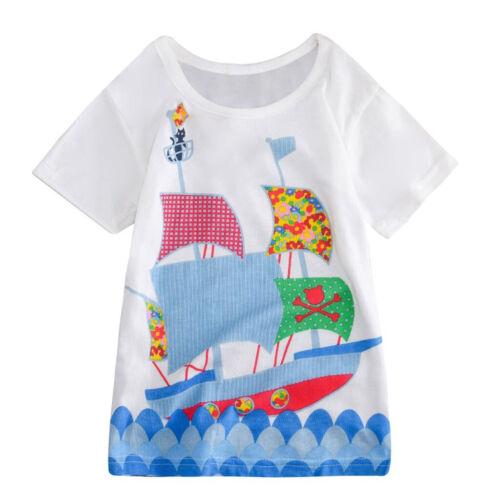 Printed Animal Applique Girl Dress Summer Dress Fashion Kid Wear Casual Clothing