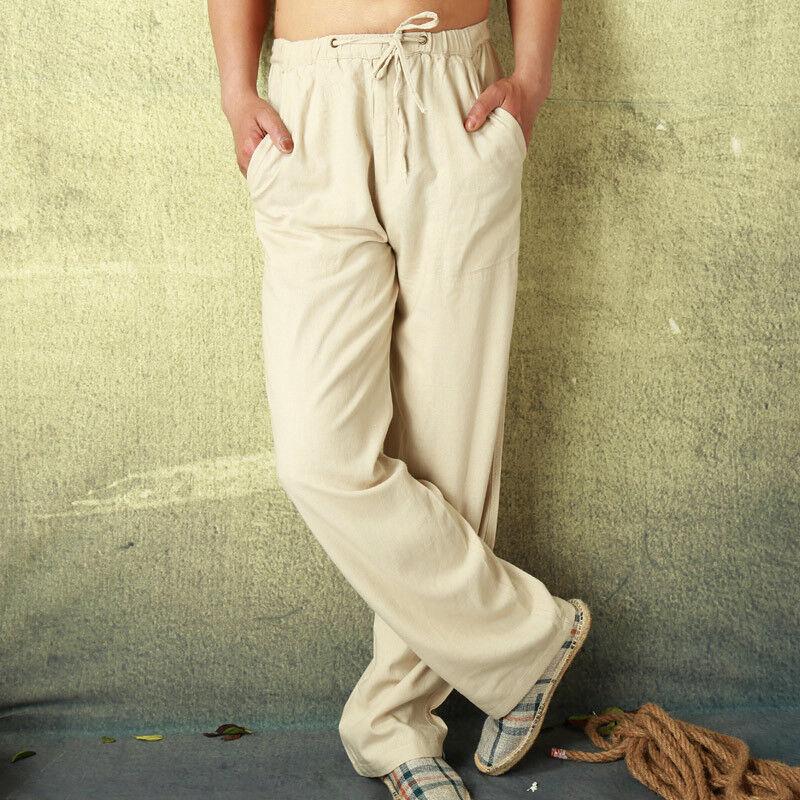 Mens Fitness Linen Cotton Solid Pants Loose Light Sweatpants Casual Summer Pants