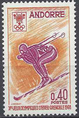 Andorra Lovely Andorra French N°187 Jeux Olympiques Winter Grenoble 1968 Neuf Luxe Mnh Europe