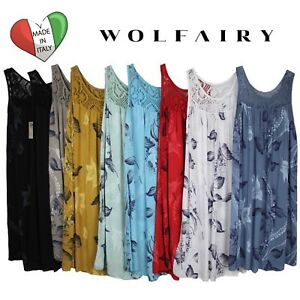 Wolfairy-Womens-Italian-Lagenlook-Summer-Floral-Dress-Tunic-Lace-Plus-Size-16-28