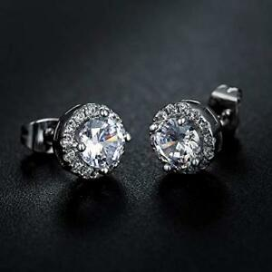 Details About 18k White Gold Plated 8mm Round Halo Stud Earrings Made With Swarovski Crystal