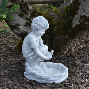 Détails sur Massif Sculpture en Pierre Garçon avec Bain D\'Oiseaux  Décoration de Jardin