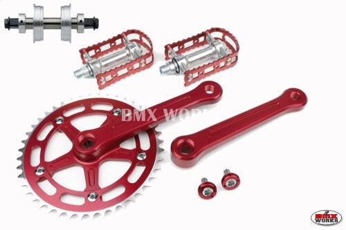 ProMX BMX 3 Piece Aluminium Cranks Set Red with MKS BM-7 Pedals /& Bottom Bracket