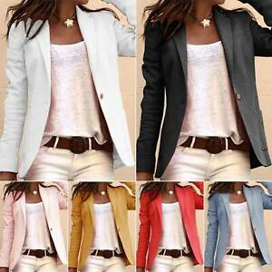 Damen Langarm Freizeit Mantel Blazer Einfach Jacke Formale Outwear Geschäft Top