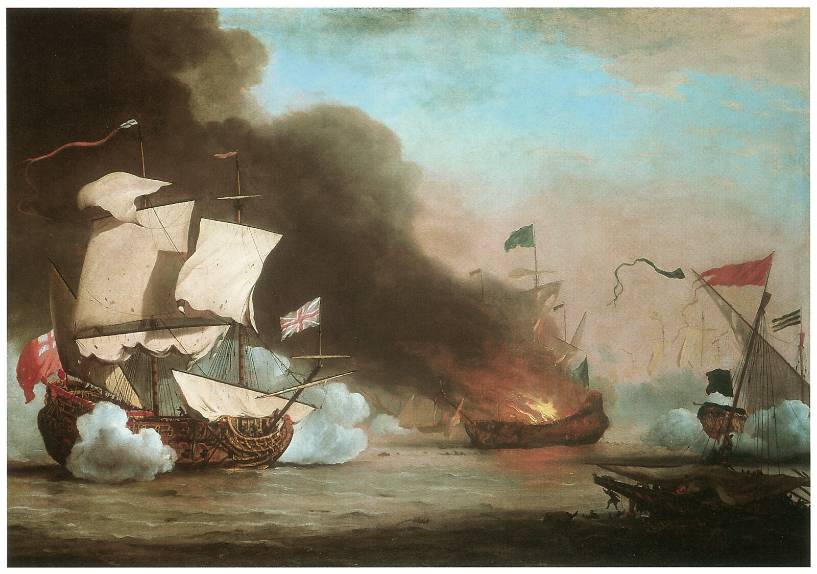 An English Ship in Action with Barbary Pirates;c.1680- WILLEM VAN DE VELDE