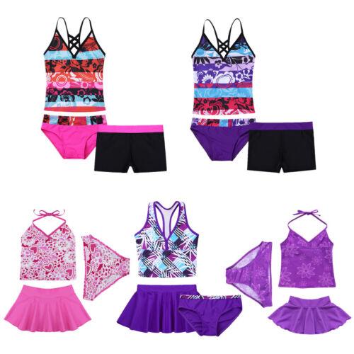 3Pcs Kids Girls Swimsuit Tankini Swimwear Surfing Bathing Suit Beachwear Costume