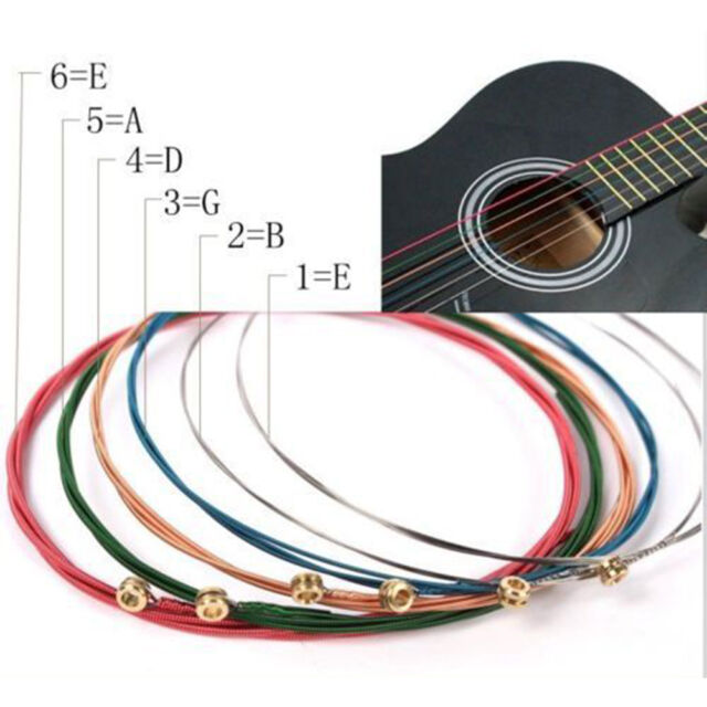 One Set 6pcs Rainbow Colorful Color Strings For Acoustic Guitar  Accessory ES