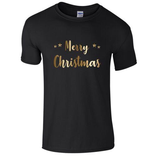 MERRY CHRISTMAS Boys T-Shirt 3-14 yrs Funny Printed Xmas Novelty Gold Top