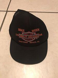 23dc0f78dfd04 Vintage 94 Daytona Beach Bike Week hat snapback cap trucker mesh ...