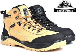 FidèLe Homme Groundwork Cuir Sécurité Travail Bottes Steel Toe Cap Trainer Chaussures Randonneur Taille-afficher Le Titre D'origine