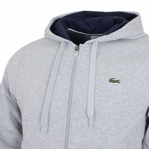 mens Lacoste GL9712 Fleece Hoodie Grey Hooded Sports tracksuit top size XL