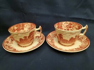 WOOD-amp-SONS-ENGLAND-ENGLISH-SCENERY-RED-SET-OF-2-DEMITASSE-TEA-CUP-amp-SAUCER-SETS