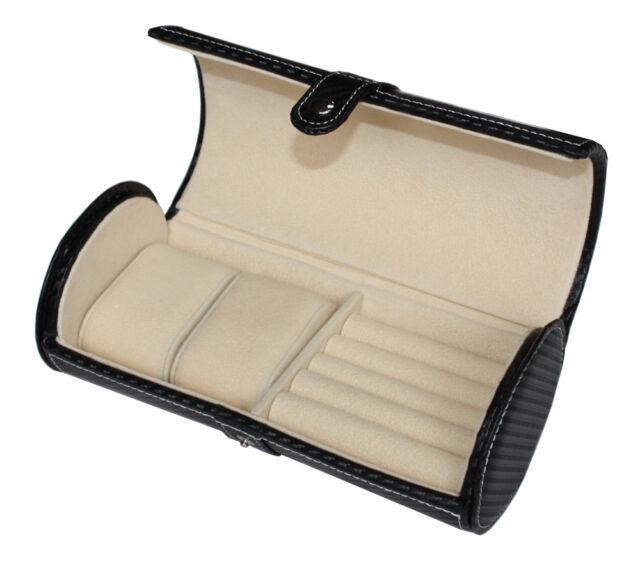 Quality Luxury Travel Watch Case Cufflinks Storage Display Box PU Leather B