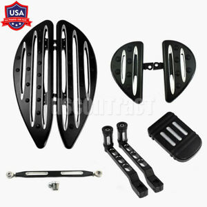 F+R Floorboard Set Shift Linkage Brake Pedal Pad Fit For Touring Glide Softail