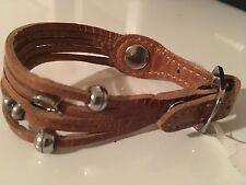 Hobo Int'l NWT Camel 5 strand leather silver buckle adjustable bracelet
