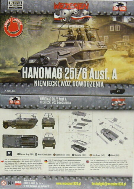 Hanomag 251/6 Ausf.a, First to fight , 1/72, Plastica, Nuovo