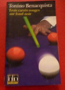 Soft-Cover-French-Pocket-Book-Trois-Carres-Rouges-sur-Fond-Noir-Polar