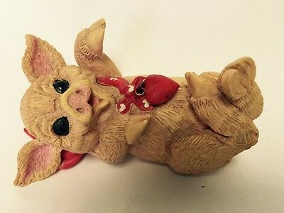 Enesco 1994 Kathy Wise Resin Pig Figurine LOVE Heart Bandanna Laying on Back EUC
