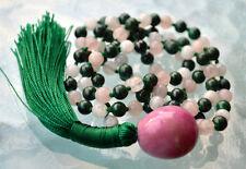 Heart Chakra Rose Quartz Malachite Moonstone 108 Knotted Mala Bead Unconditional