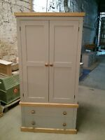 Pine Factory Direct Painted Pine Gents 2 Drawer Robe Earl Grey With Waxed Trim