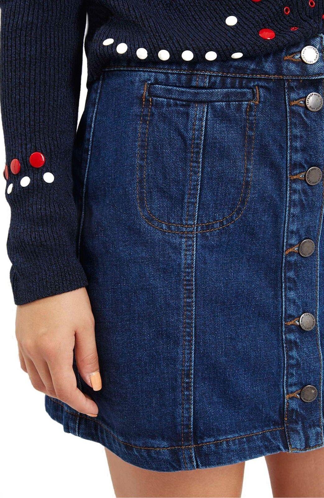 TOPSHOP Button Front Blue Denim Skirt A-Line Cott… - image 3