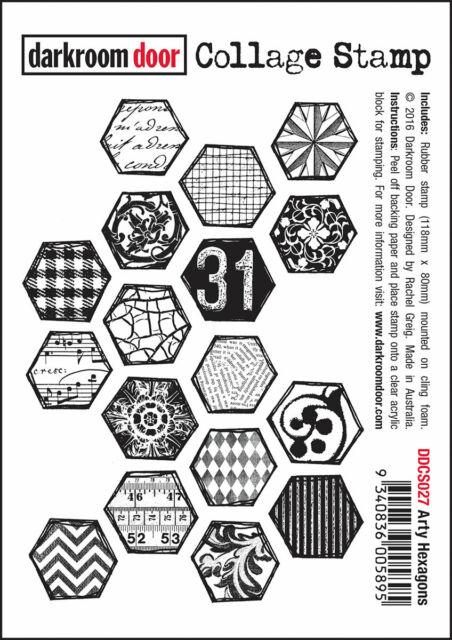 """Darkroom Door """"Arty Hexagons"""" Collage Cling Rubber Stamps"""