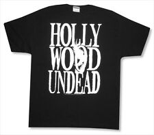 HOLLYWOOD UNDEAD WHITE NAME LOGO BLACK T-SHIRT ADULT LARGE L NEW OFFICIAL