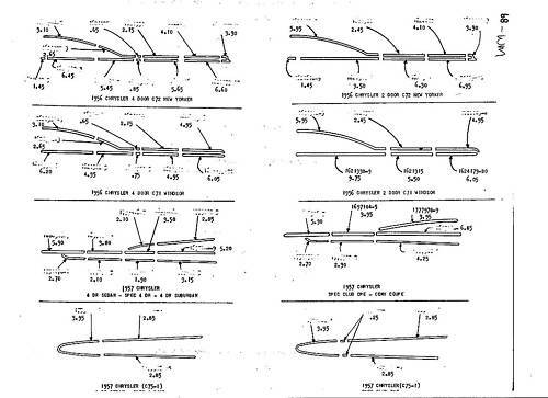 1956 Chrysler NOS Body Panel Exterior Part Number Guide