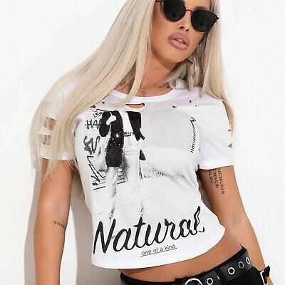 By Alina Damenshirt T-Shirt Damentop Lederlook Vokuhila Top Oberteil Bluse XS-M