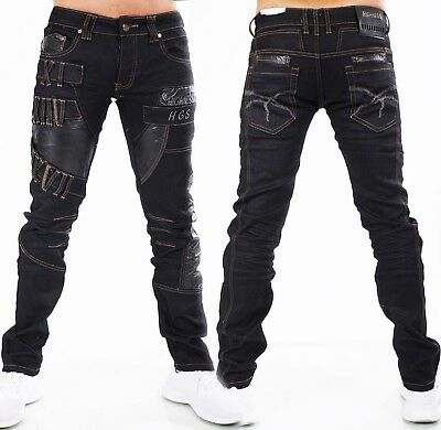 Highness Jeans Uomo Pantaloni Men's Wear Straight Loose Ecopelle Patch Nero-mostra Il Titolo Originale Novel (In) Design;
