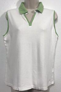 Izod-Golf-Classix-Women-039-s-Sz-L-Sleeveless-White-Polo-w-Green-Collar-amp-Trim