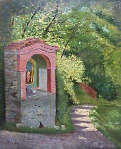 Impressionist-Religioese-Staette-Sansky-signiert-Olgemaelde-41-5-x-34-cm