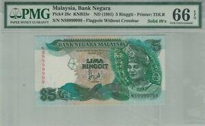 RM5 Jaffar Hussein (1991) NS9999999 Solid #9 PMG66EPQ UNC